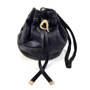 VTG 80's black leather bucket bag